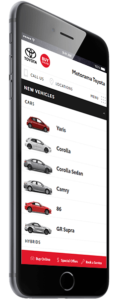 Screenshot of Motorama Toyota as viewed on a smartphone