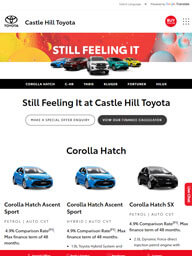 Castle Hill Toyota Web Site as seen on a Tablet Device